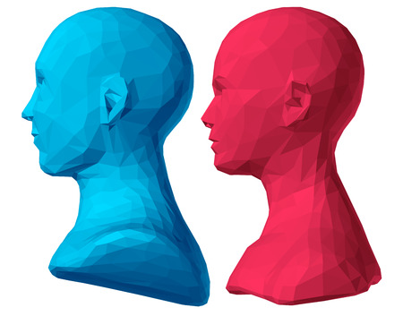 bust: polygonal bust of male and female. without hairs. Illustration
