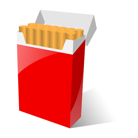 cigarette pack: illustration of red cigarette pack. isolated on white Stock Photo