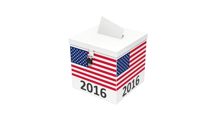 vote box: 3d illustration of simple vote box with america flag. isolated on white.