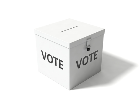 vote box: 3d illustration of simple vote box. isolated on white.