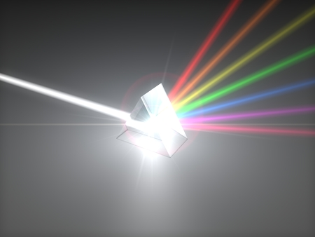 refraction: 3d illustration prism and refraction light rays. with light beams.