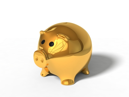 3d illustration of pig money box. isolated on white. golden version.