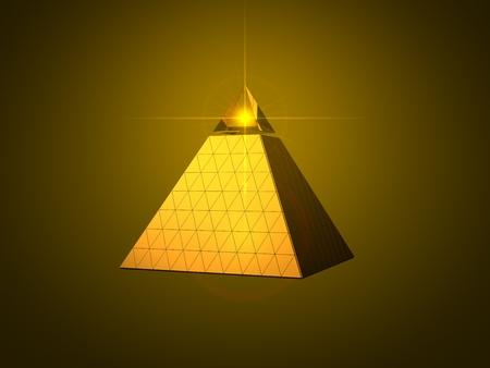 ojo de horus: diseño de la pirámide conceptual con el ojo rayo de luz en la parte superior. Versión de oro.