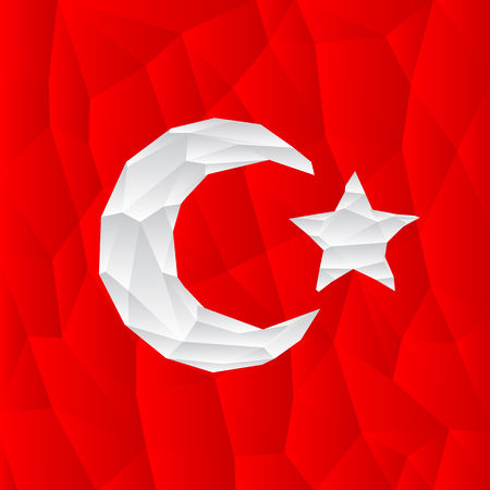 turkish flag: polygonal turkish flag illustration.