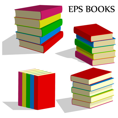 veiw: book stacks set. four different veiw. Illustration