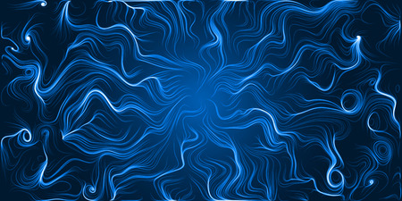 sacred source: energy trails abstract with curved lines. blue version.