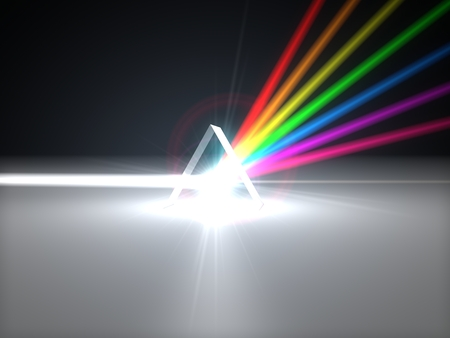 3d illustration prism and refraction light rays. with light beams.