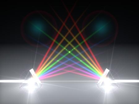 3 d イラスト デュアル プリズム、屈折光線します。光のビーム。