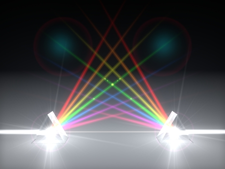 3d illustration dual prism and refraction light rays. with light beams. 스톡 콘텐츠