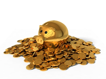money box: 3d illustration of pig money box and golden coins. isolated on white