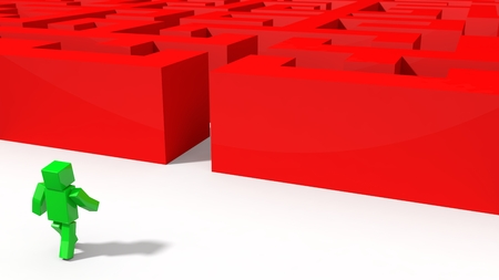 going green: green cubic character going to red labyrinth. 3d illustration.