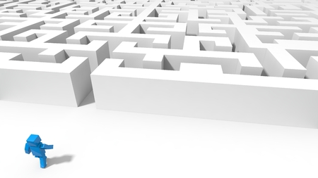 cubic: blue cubic character going to labyrinth. 3d illustration.