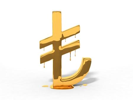 lira: melting turkish currency lira symbol. isolated on white. 3d illustration.