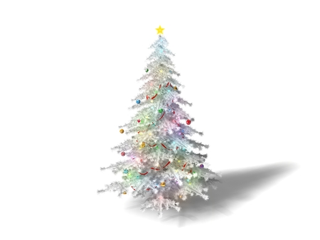 christmass: 3d illustration of christmass tree. conceptual white design. isolated on white.