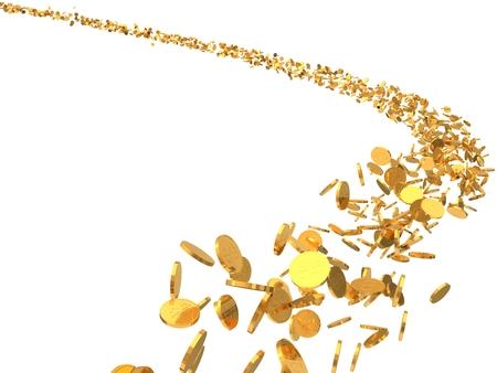 flock: 3d illustration of flying golden coins flock. isolated on white background.