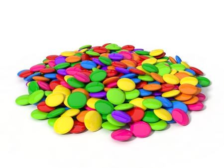 editorial: 3d illustration of candy stack. colorful candies isolated on white. Stock Photo
