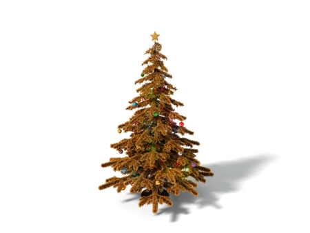 3d illustration of christmas tree. conceptual golden tree design. isolated on white. Stock Photo