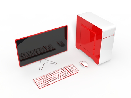 pc case: 3d illustration of conceptual computer design. isolated on white.