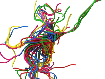 sectoral: abstract with colorful wires. isolated on white. 3d illustration.
