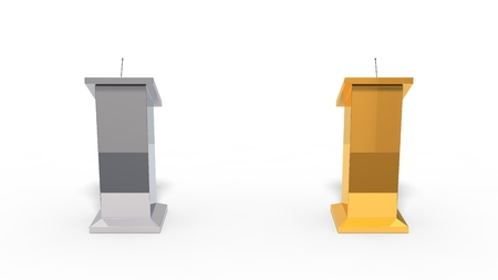 debate: 3d illustration of conceptual debate tribune. isolated on white. chrome versus gold.