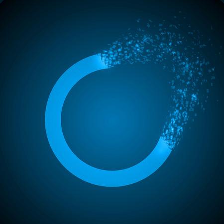 dissolving: dissolving torus shape illustration. blue version.
