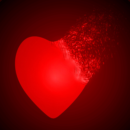dissolving heart shape illustration. red version.