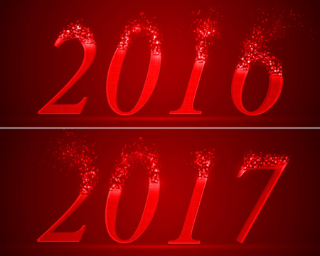 dissolving numbers of years 2016 and 2017. red version. Illustration