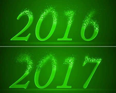 dissolving: dissolving numbers of years 2016 and 2017. green version.