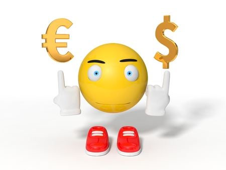 simple yellow smiley ball character point out euro and dollar symbol. isolated on white. 3d illustration.