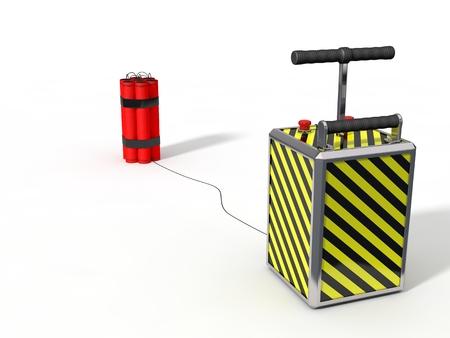 demolish: dynamite pack and detenator.isolated on white. 3d illustration.