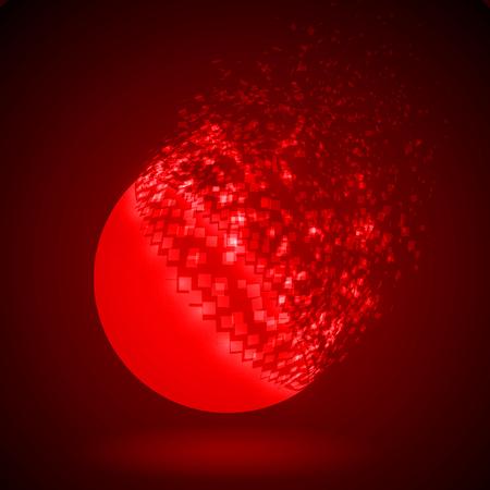 dissolve: dissolving sphere shape illustration. red version.