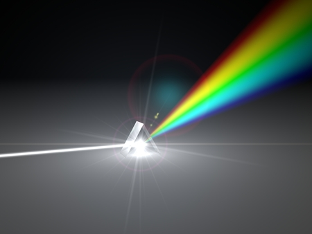 3d illustration prism and refraction light ray. light spectrum version.