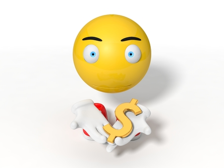 smily: simple yellow smiley ball character. giving dollar symbol.  isolated on white. 3d illustration.