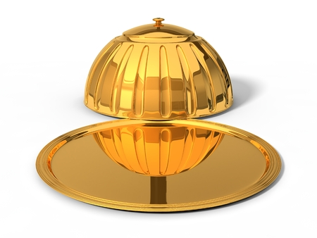 3d illustration of golden Restaurant cloche. in opened position. isolated on white.