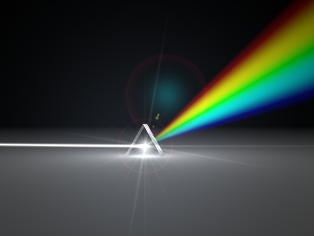 refraction: 3d illustration prism and refraction light ray. light spectrum version.