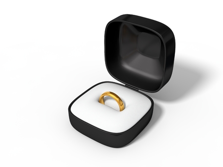 golden ring: simple golden ring in box. isolated on white. 3d illustration.