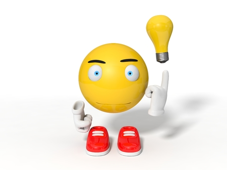 simple yellow smiley ball character point out a lamp of idea. isolated on white. 3d illustration. Stock Photo