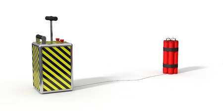 destroying: dynamite pack and detenator.isolated on white. 3d illustration.