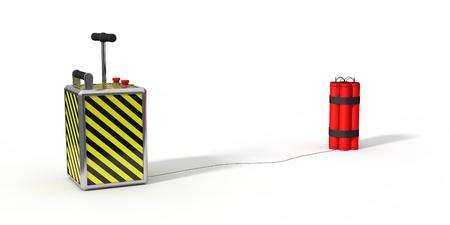 dinamita: paquete de dinamita y detenator.isolated en blanco. Ilustración 3D.