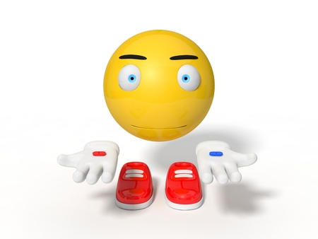 smily face: simple yellow smiley ball character. showing red and blue pills. isolated on white. 3d illustration. Stock Photo