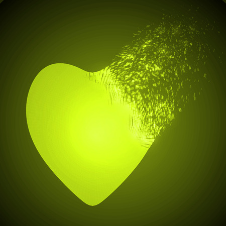 love blast: dissolving heart shape illustration. yellow version.
