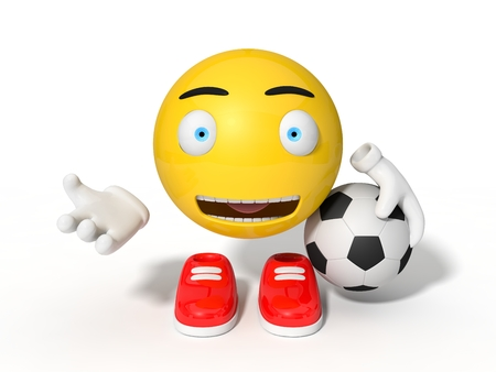 simple yellow smiley ball character. calling for football. isolated on white. 3d illustration.