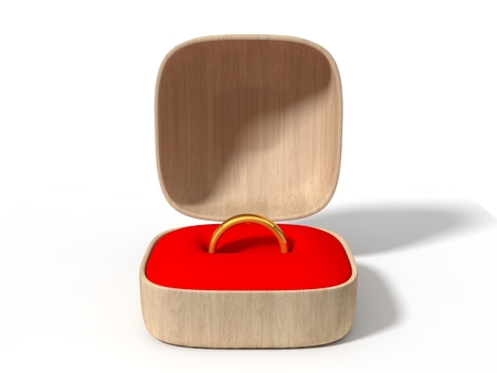 golden ring: simple golden ring in wooden box. isolated on white. 3d illustration.