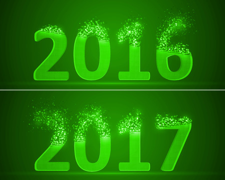 dissolve: dissolving numbers of years 2016 and 2017. green version.