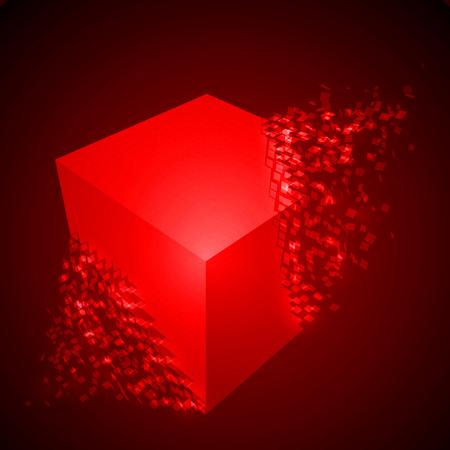 dissolving: dissolving cube shape illustration. glowing red version
