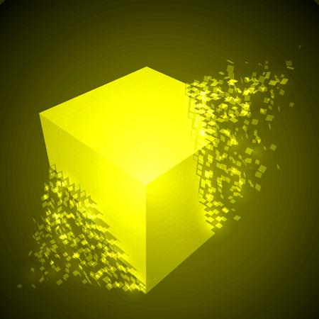 dissolving cube shape illustration. glowing yellow version Illustration