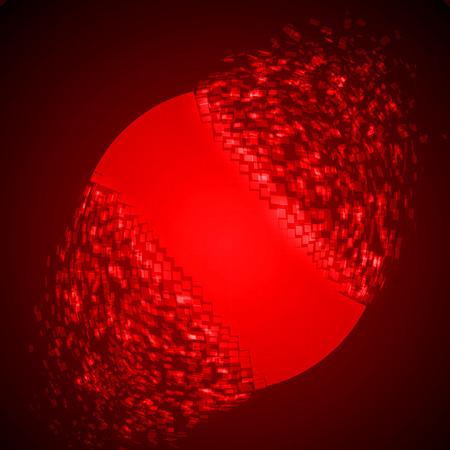 dissolving sphere shape illustration. glowing red version