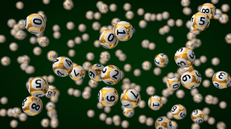 3d illustration of golden lottery balls with depth of field effect.