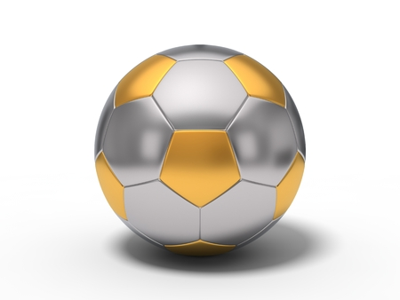 brushed: metal soccer ball. with brushed gold and chrome surfaces. isolated on white. 3d illustration. Stock Photo