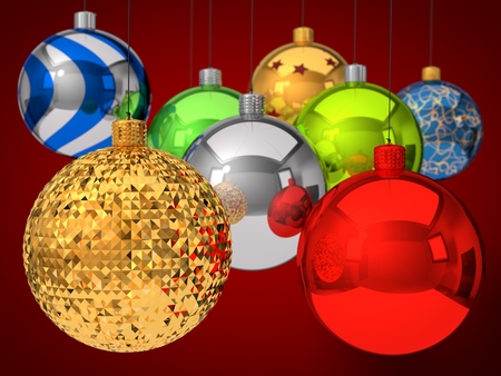 dept: group of christmas baubles, with dept of field effect. 3d illustration.
